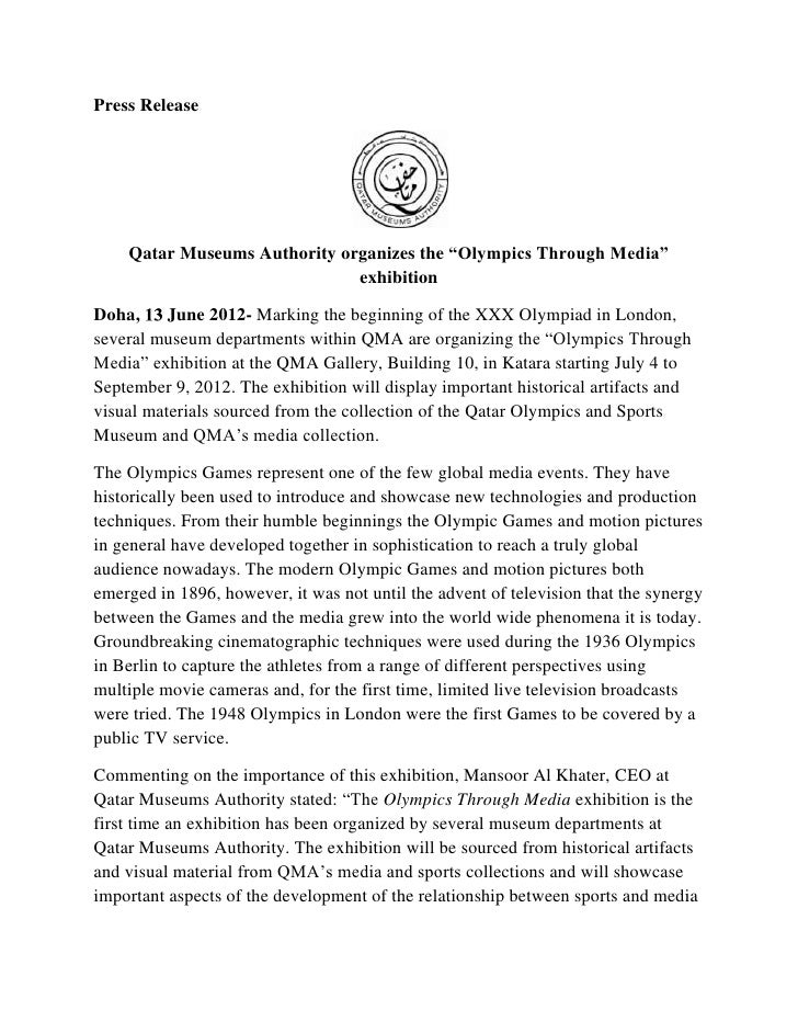 """Press Release    Qatar Museums Authority organizes the """"Olympics Through Media""""                              exhibitionDoh..."""