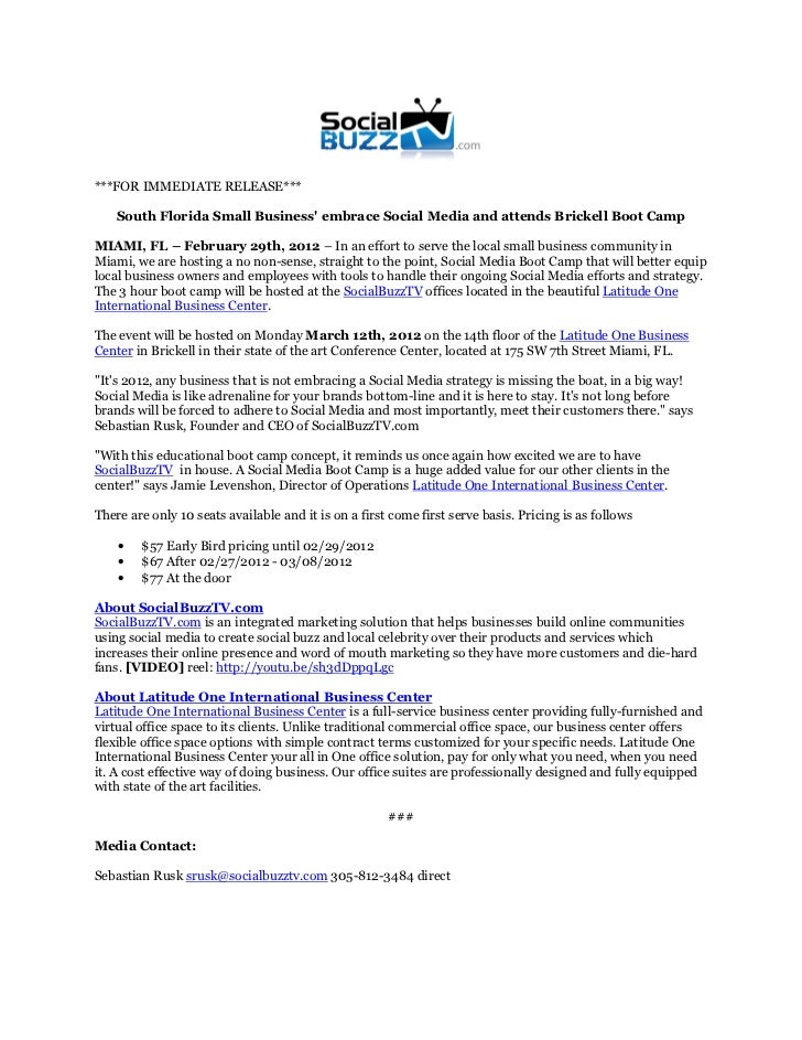 ***FOR IMMEDIATE RELEASE***    South Florida Small Business embrace Social Media and attends Brickell Boot CampMIAMI, FL –...