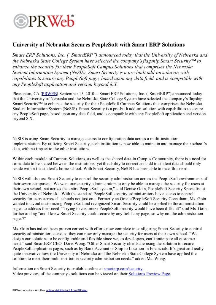 Press Release - University of Nebraska Secures PeopleSoft with Smart ERP Solutions 2010-09-15