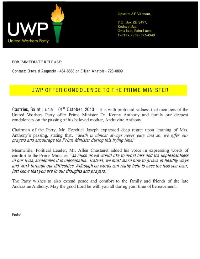 Press release   uwp offer condolence to prime minister