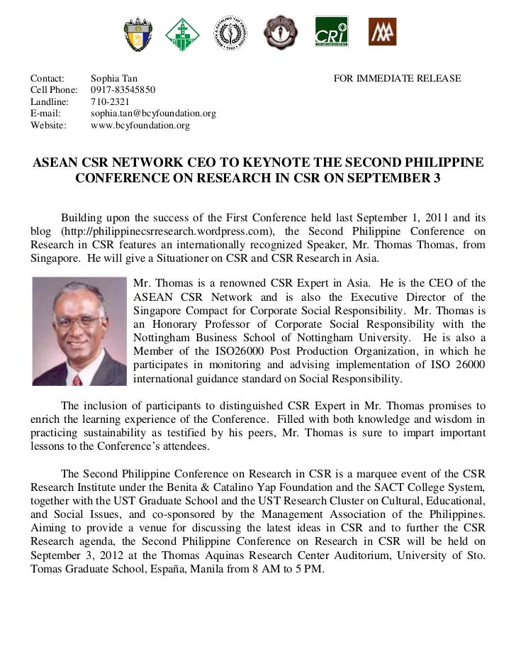 CRI Press Release:  Asean CSR Network CEO to Keynote the second philippine conference on Research in CSR on September 3