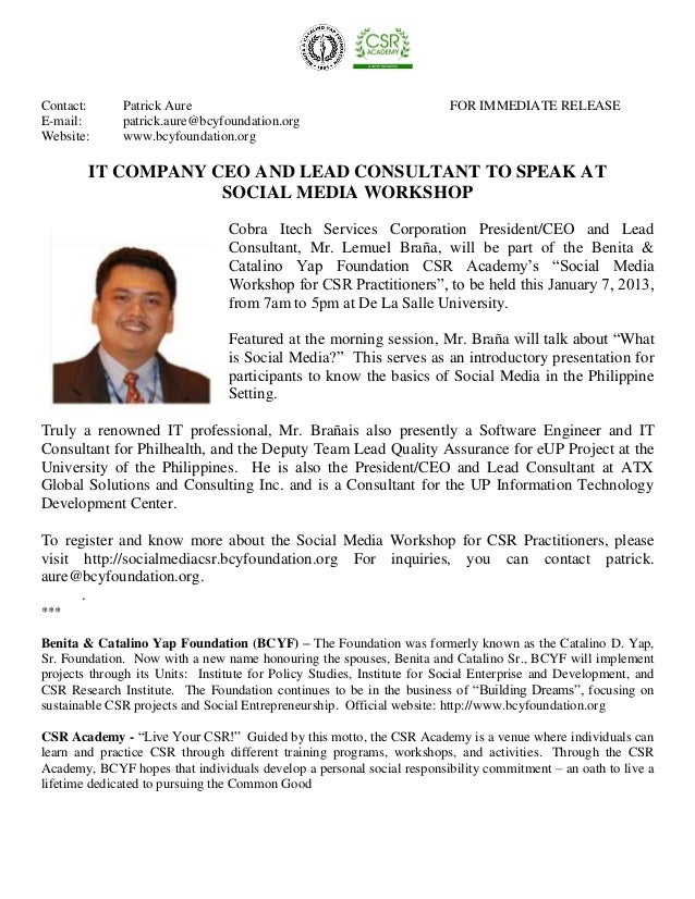 Press release 05   it company ceo to speak at social media workshop