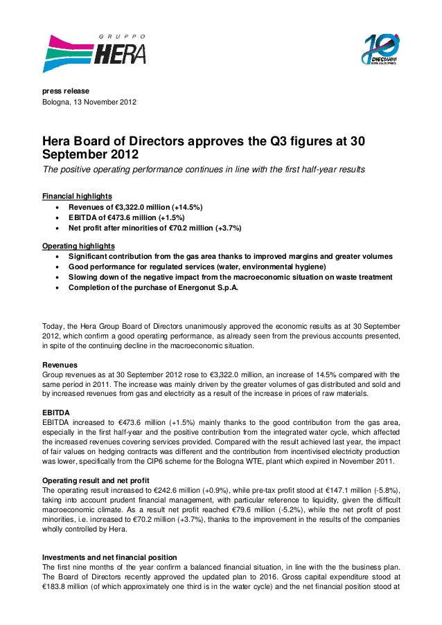 Hera Board of Directors approves the Q3 figures at 30 September 2012