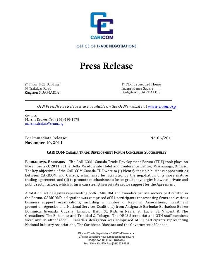 OTN Press Release 1106 - CARICOM-Canada Trade Development Forum Concludes Successfully Nov 10, 2011