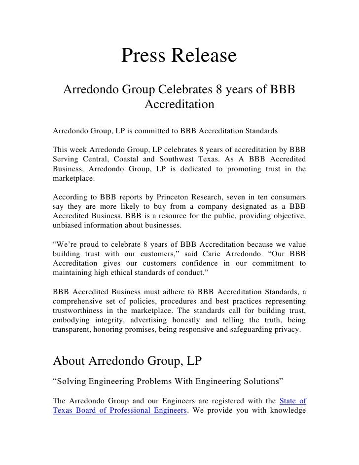 Press Release   Arredondo Group Celebrates 8 years of BBB                AccreditationArredondo Group, LP is committed to ...