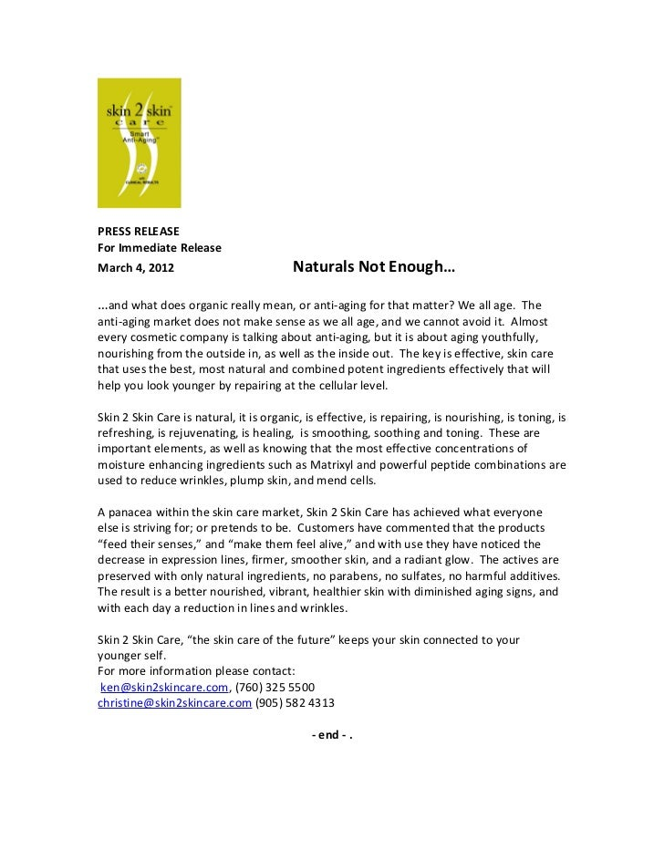 PRESS RELEASEFor Immediate ReleaseMarch 4, 2012                            Naturals Not Enough……and what does organic real...
