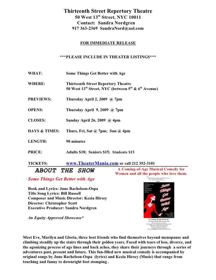 Thirteenth Street Repertory Theatre                               50 West 13th Street, NYC 10011                          ...