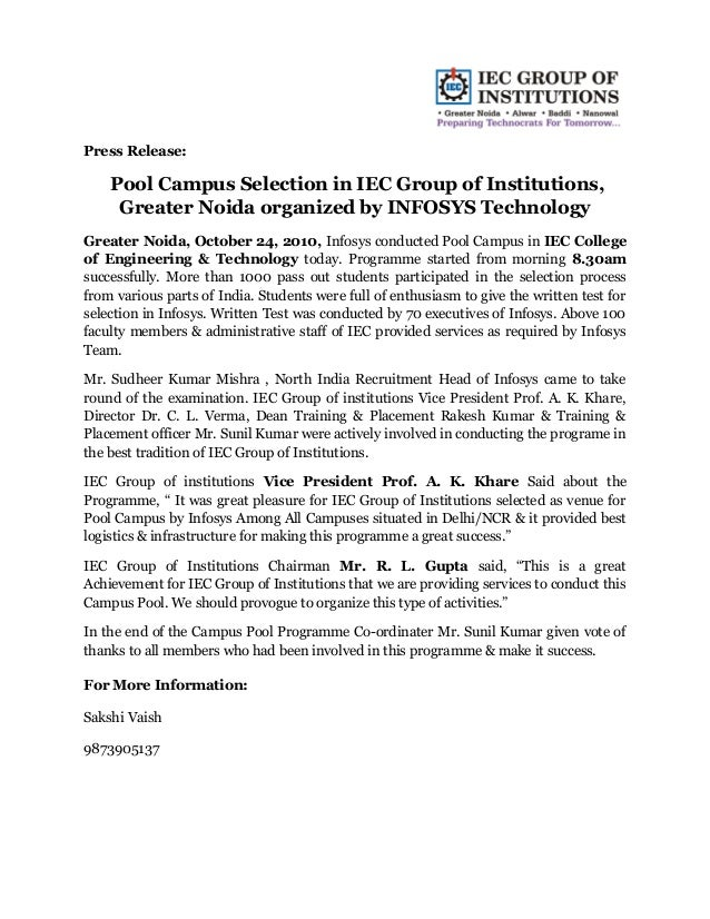 Press Release: Pool Campus Selection in IEC Group of Institutions, Greater Noida organized by INFOSYS Technology Greater N...