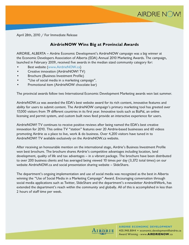 April 28th, 2010 / For Immediate Release                         AirdrieNOW Wins Big at Provincial Awards  AIRDRIE, ALBERT...