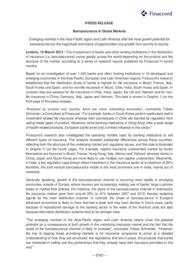 Press release bancassurance in global markets