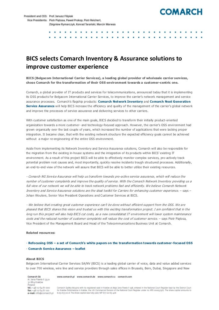 [Press release]bics selects comarch inventory & assurance solutions to improve customer experience
