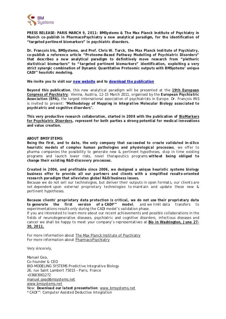 PRESS RELEASE: PARIS MARCH 9, 2011: BMSystems & The Max Planck Institute of Psychiatry inMunich co-publish in PharmacoPsyc...