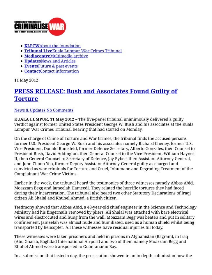 Press release _bush_and_associates_found_guilty_of_torture