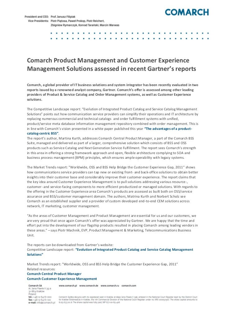 [Press release]comarch product management and customer experience management solutions assessed in recent gartner's reports