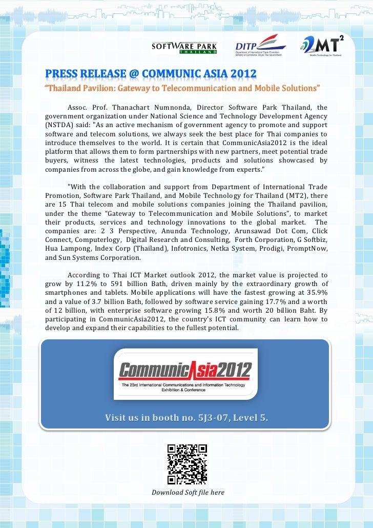 """Thailand Pavilion: Gateway to Telecommunication and Mobile Solutions""       Assoc. Prof. Thanachart Numnonda, Director So..."