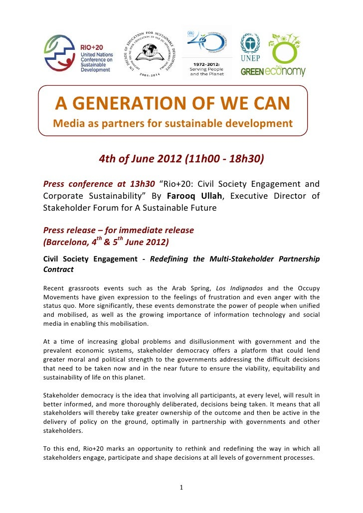 Press release corporatesustainability_rio+20_4th.5thofjune2012