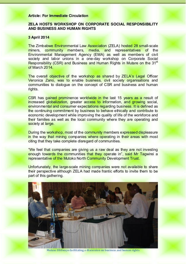 Article: ZELA hosts workshop on Corporate Social Responsibility & Business and Human Rights