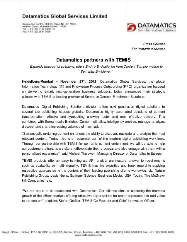 Datamatics + TEMIS announce global, strategic alliance [PM]
