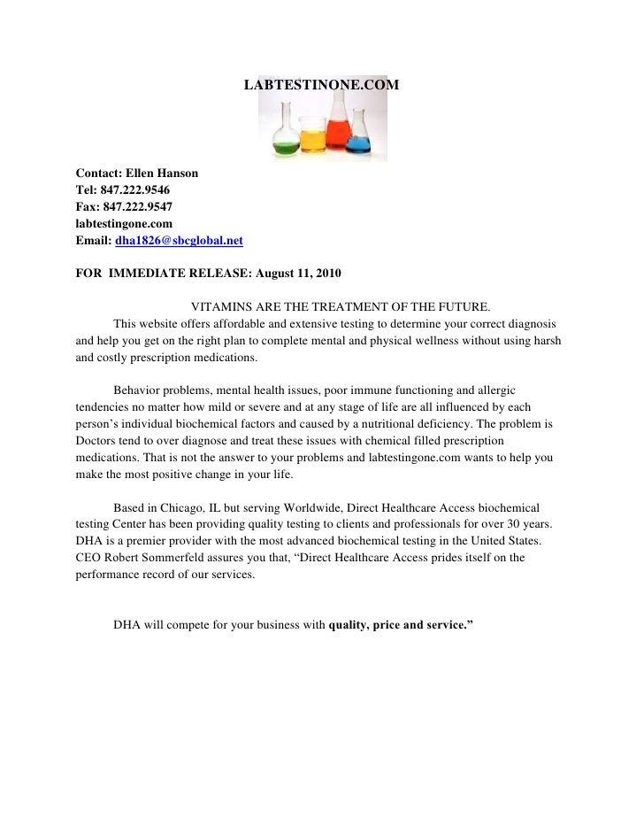 22098000LABTESTINONE.COM<br />Contact: Ellen Hanson <br />Tel: 847.222.9546                         <br />Fax: 847.222.954...