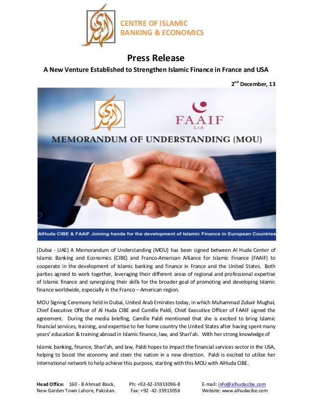 CENTRE OF ISLAMIC BANKING & ECONOMICS  Press Release A New Venture Established to Strengthen Islamic Finance in France and...