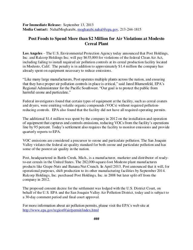 For Immediate Release: September 13, 2013 Media Contact: NahalMogharabi, mogharabi.nahal@epa.gov, 213-244-1815 Post Foods ...