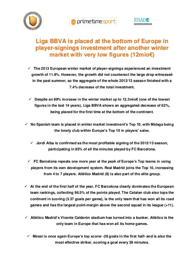 Liga BBVA is placed at the bottom of Europe in      player-signings investment after another winter           market with ...