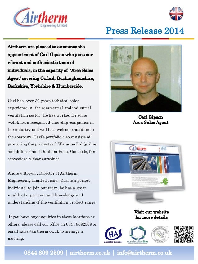 0844 809 2509 | airtherm.co.uk | info@airtherm.co.uk Press Release 2014 Carl Gipson Area Sales Agent Airtherm are pleased ...