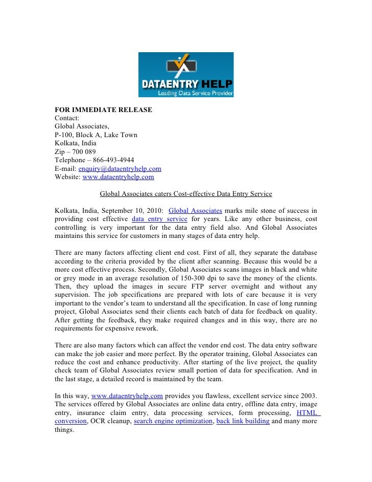 Press release for dataentry