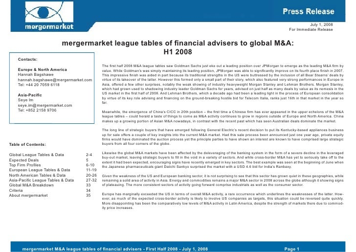 Press Release For Financial Advisers H1 2008 Global Final