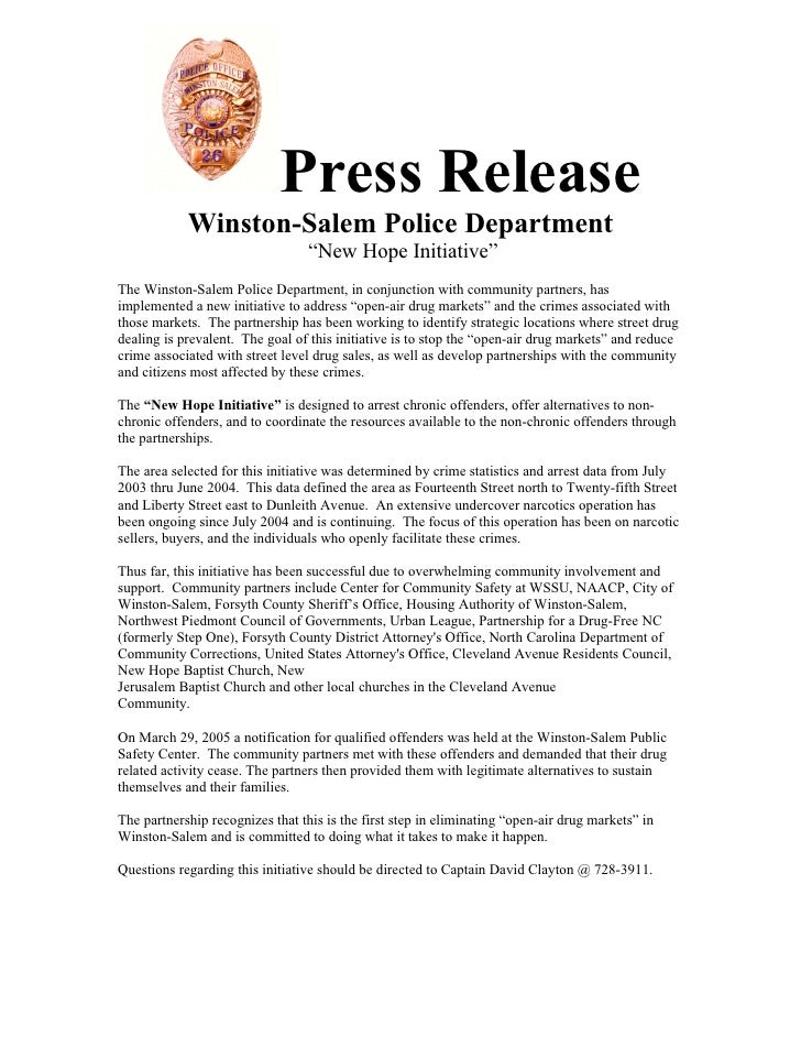"""Press Release             Winston-Salem Police Department                                   """"New Hope Initiative"""" The Wins..."""