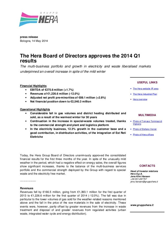 The Hera Board of Directors approves the 2014 Q1 results