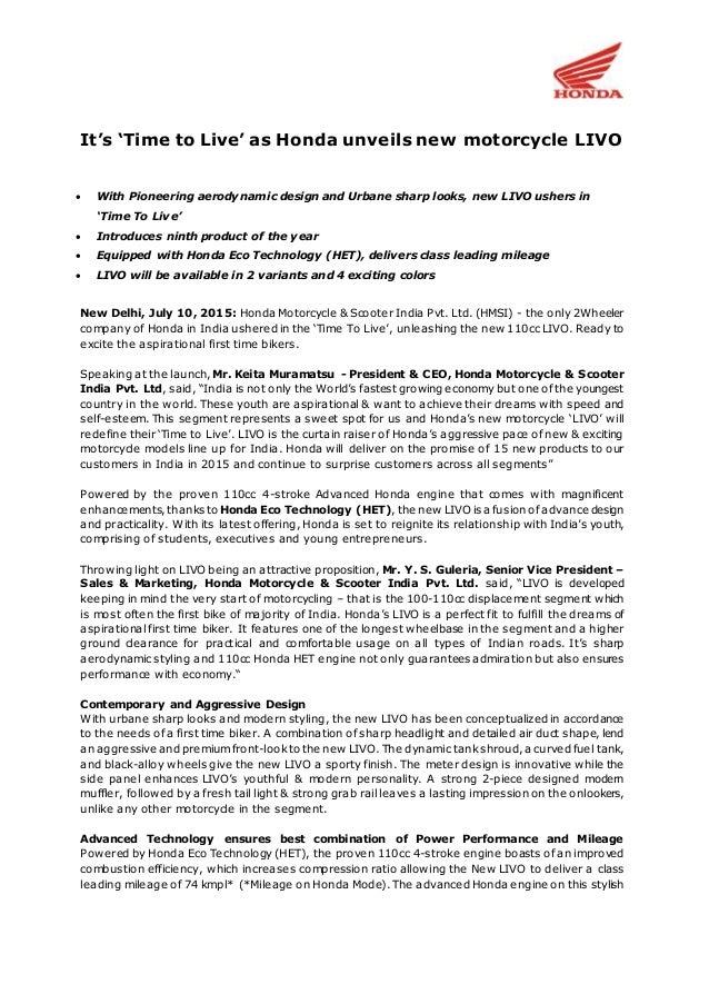 honda livo india launch press release