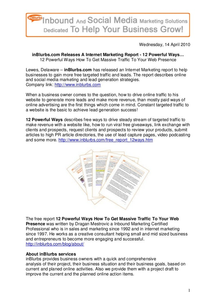 Press Release In Blurbs Com Releases An Internet Marketing Report 04 14 2010