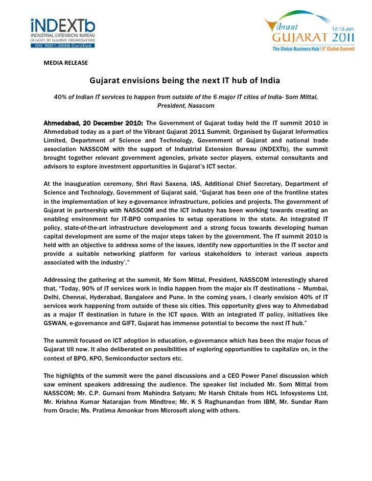 MEDIA RELEASE<br />Gujarat envisions being the next IT hub of India<br />40% of Indian IT services to happen from ou...