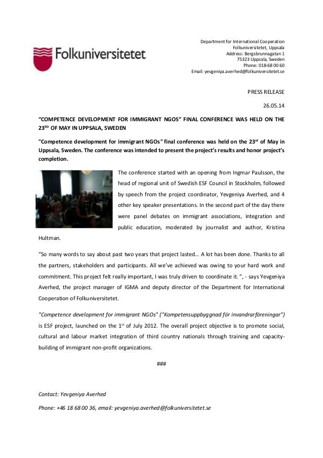 Press release kompetens final conference