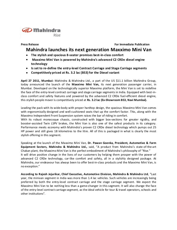 Press Release                                                             For Immediate Publication    Mahindra launches i...