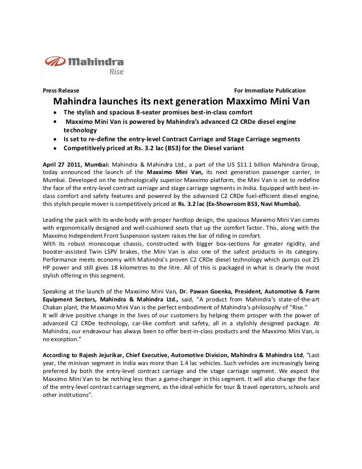 Mahindra launches its next generation Maxximo Mini Van