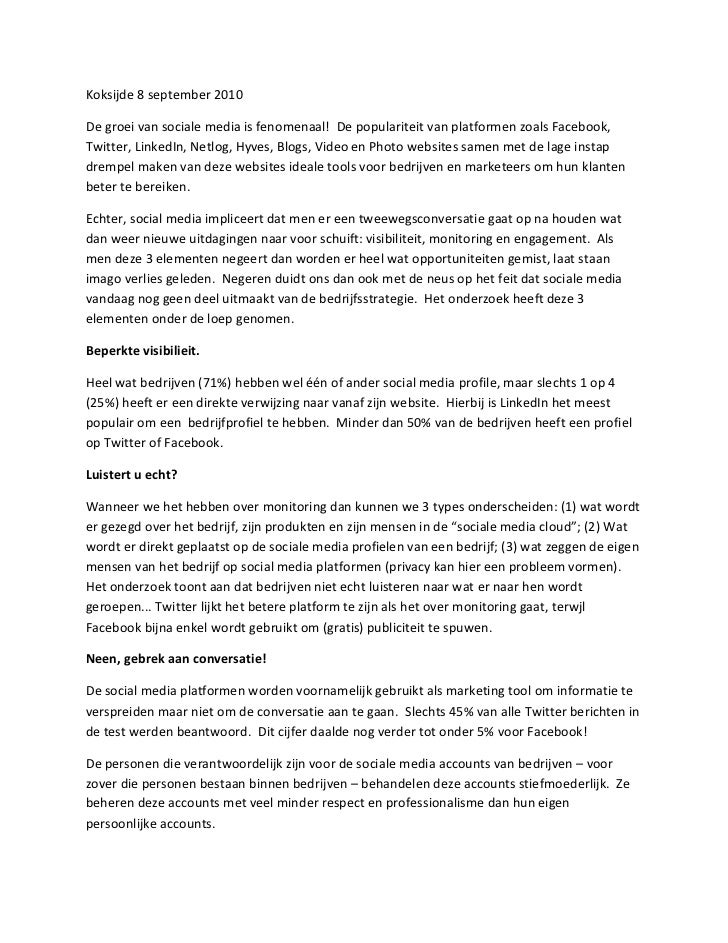Press Release   Nederlands   Social Media Monitoring Research