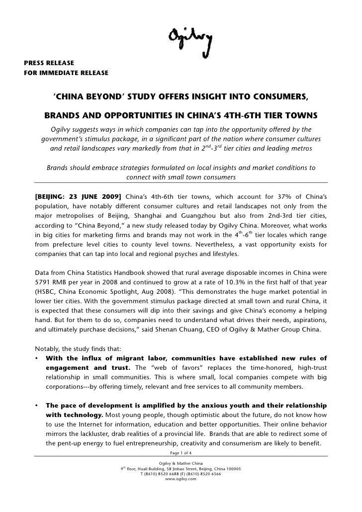 PRESS RELEASE FOR IMMEDIATE RELEASE           'CHINA BEYOND' STUDY OFFERS INSIGHT INTO CONSUMERS,       BRANDS AND OPPORTU...