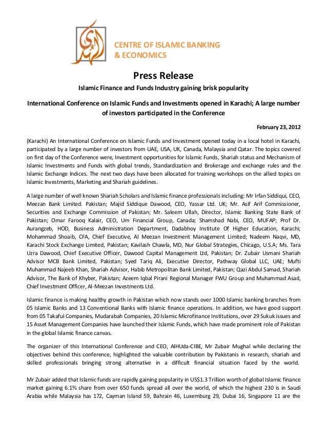 Press release on islamic finance and funds industry