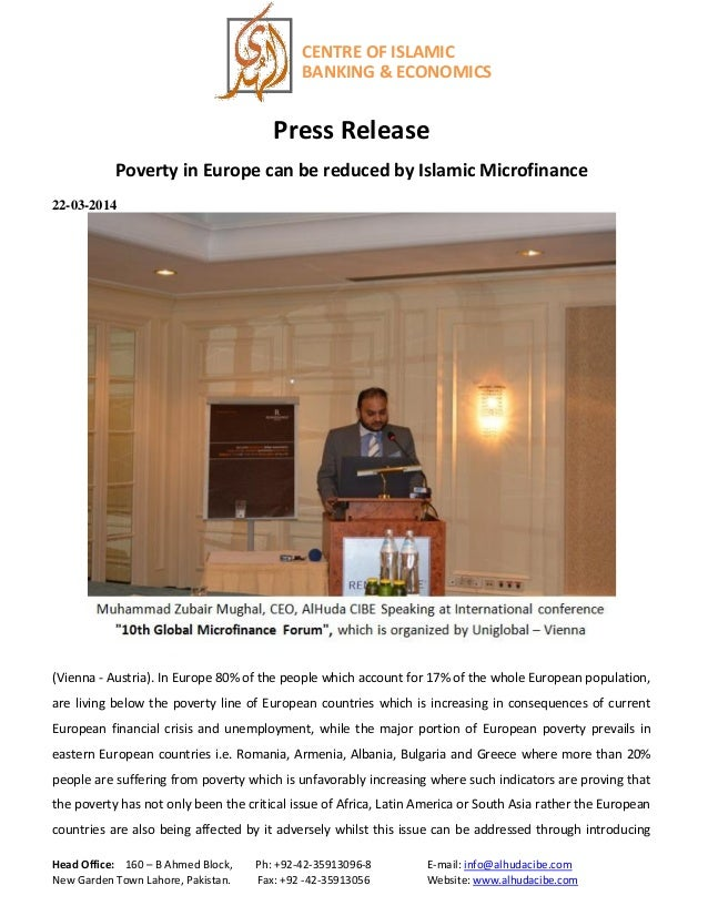 Press release on poverty in Europe can be reduced by Islamic micro finance (english)