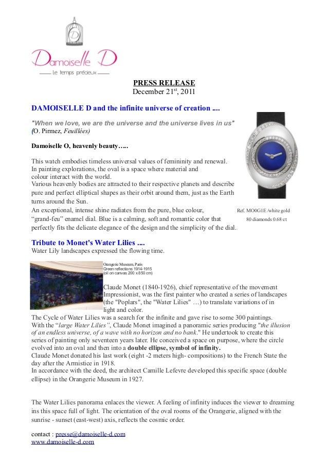 Press release TRIBUTE TO MONET