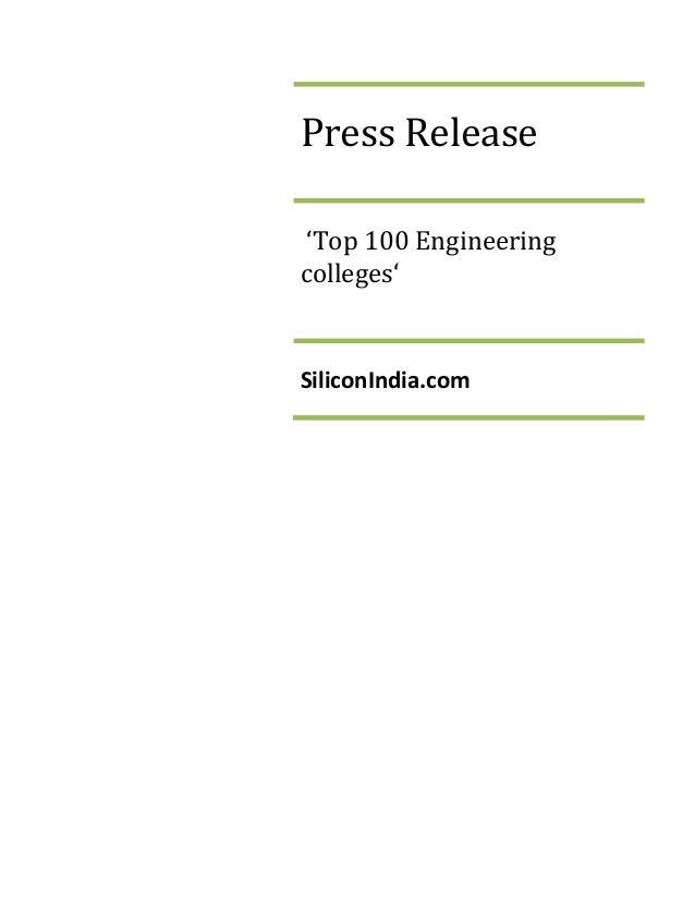 Press Release 'Top 100 Engineering colleges' SiliconIndia.com
