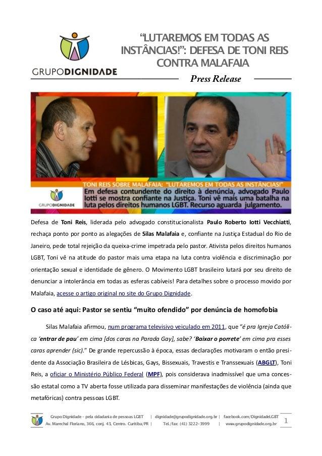 """""""LUTAREMOS EM TODAS AS INSTÂNCIAS!"""": DEFESA DETONI REIS CONTRA MALAFAIA Press Release Defesa de Toni Reis, liderada pelo a..."""