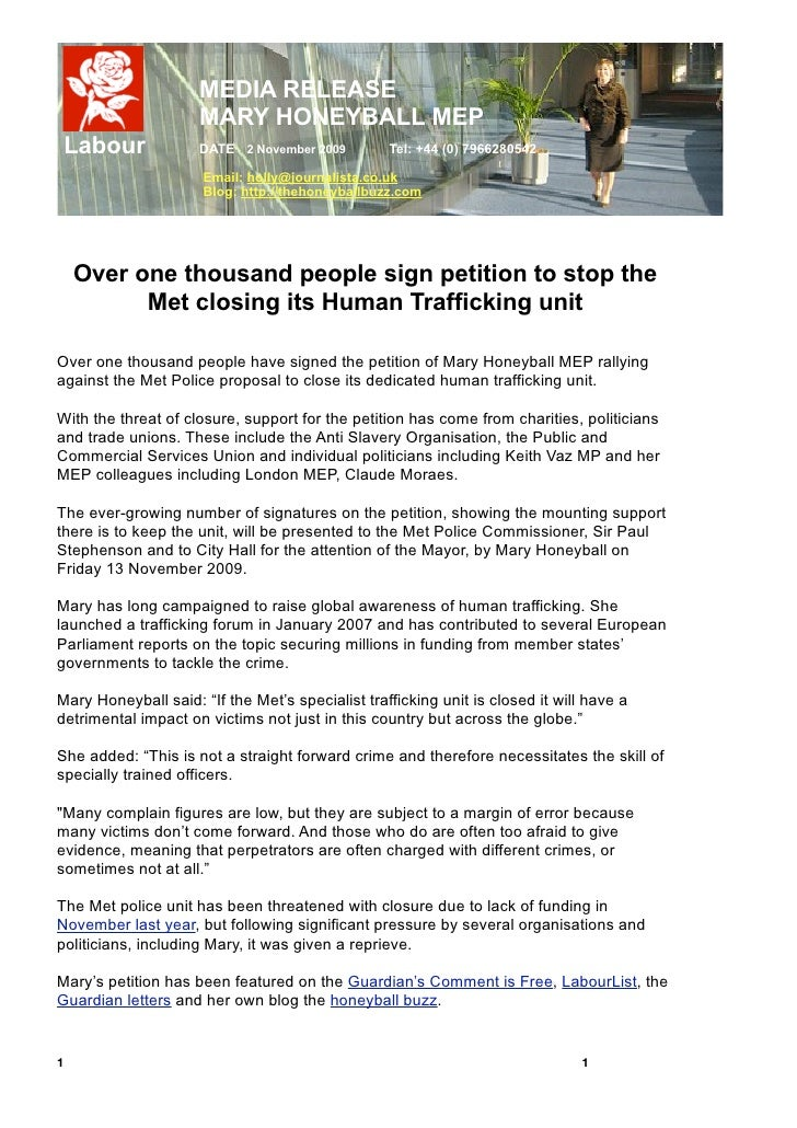 Press Release Trafficking Petition 3 Nov 2009