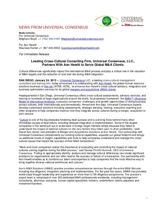 NEWS FROM UNIVERSAL CONSENSUSMedia Contacts:For Universal Consensus:Meghann Boyd, +1 (760) 390-0185, Meghann@universalcons...