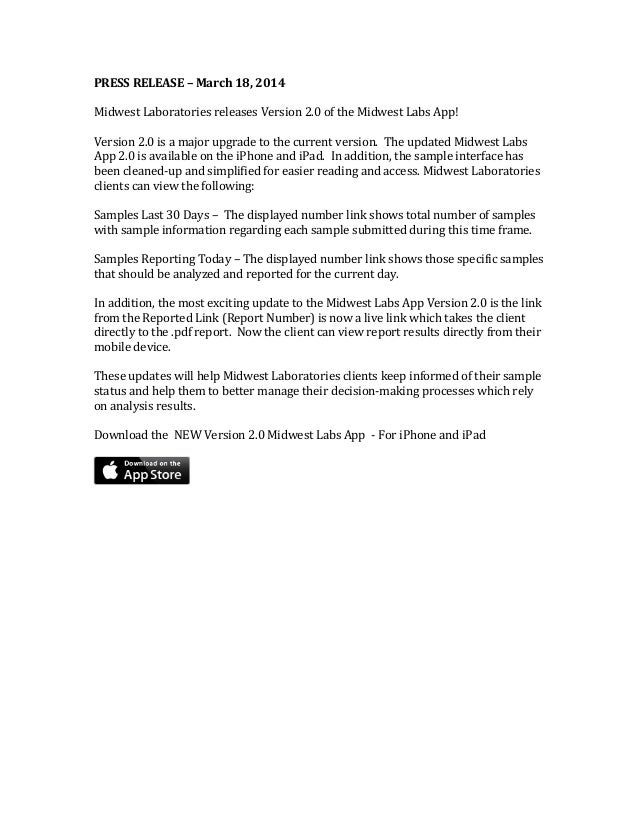 PRESS RELEASE – March 18, 2014 Midwest Laboratories releases Version 2.0 of the Midwest Labs App! Version 2.0 is a major u...