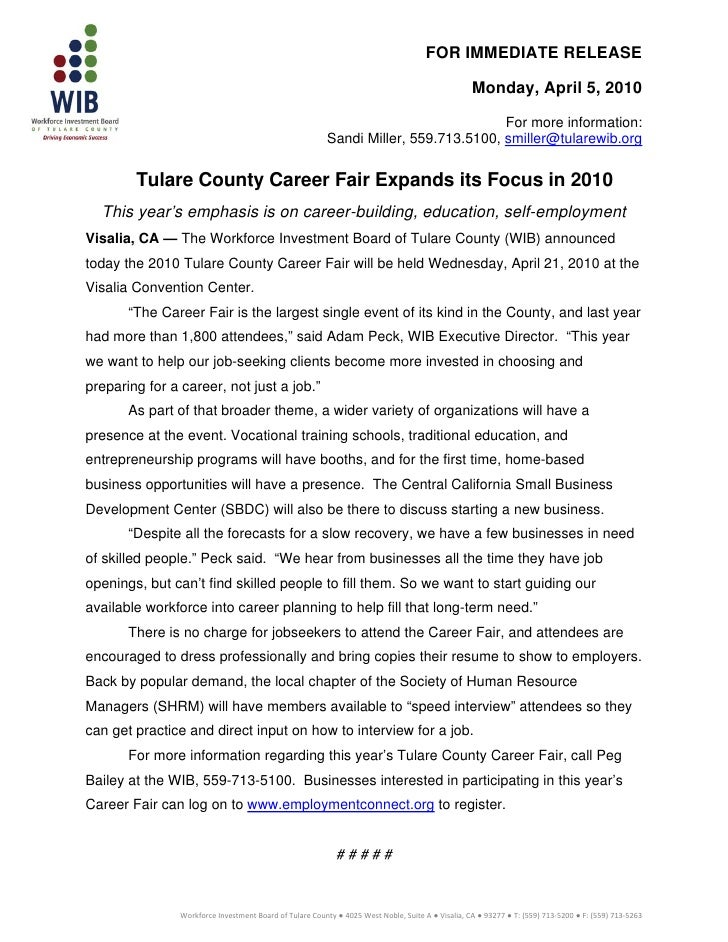 Press release wib career fair04.05.10