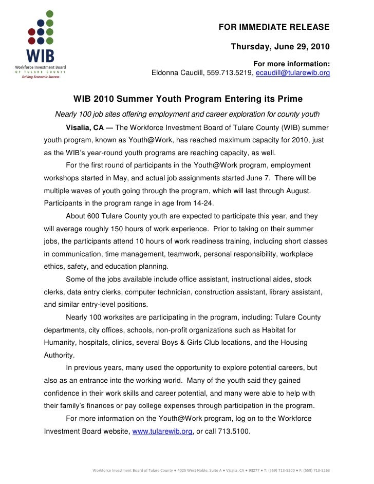 Press releasewib youthwork6.30.2010