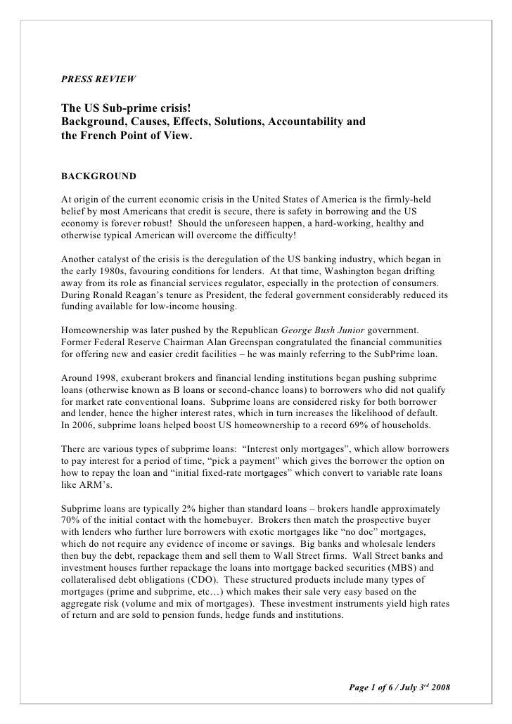 Press Review Us Economic Crisis July 3rd 2008
